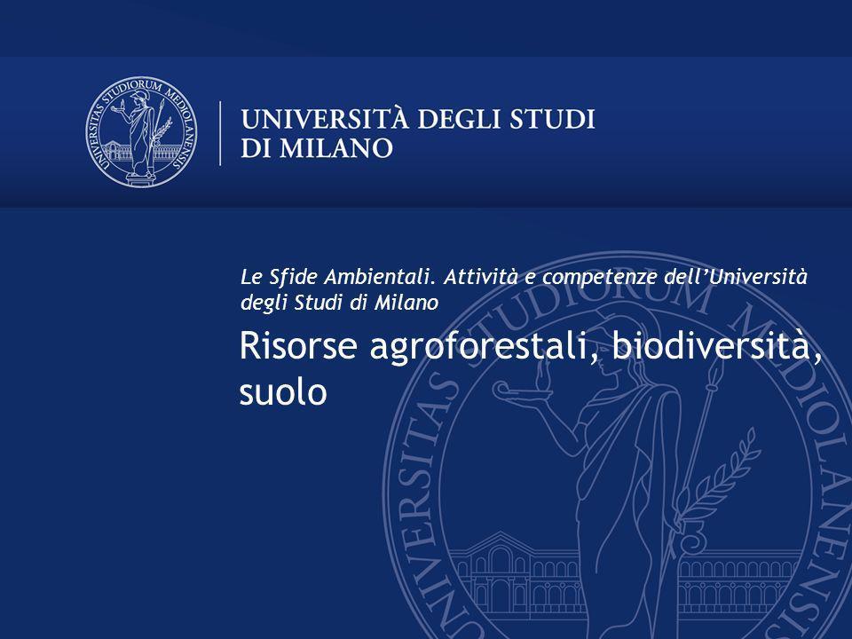 Risorse agroforestali, biodiversità, suolo Le Sfide Ambientali. Attività e competenze dellUniversità degli Studi di Milano