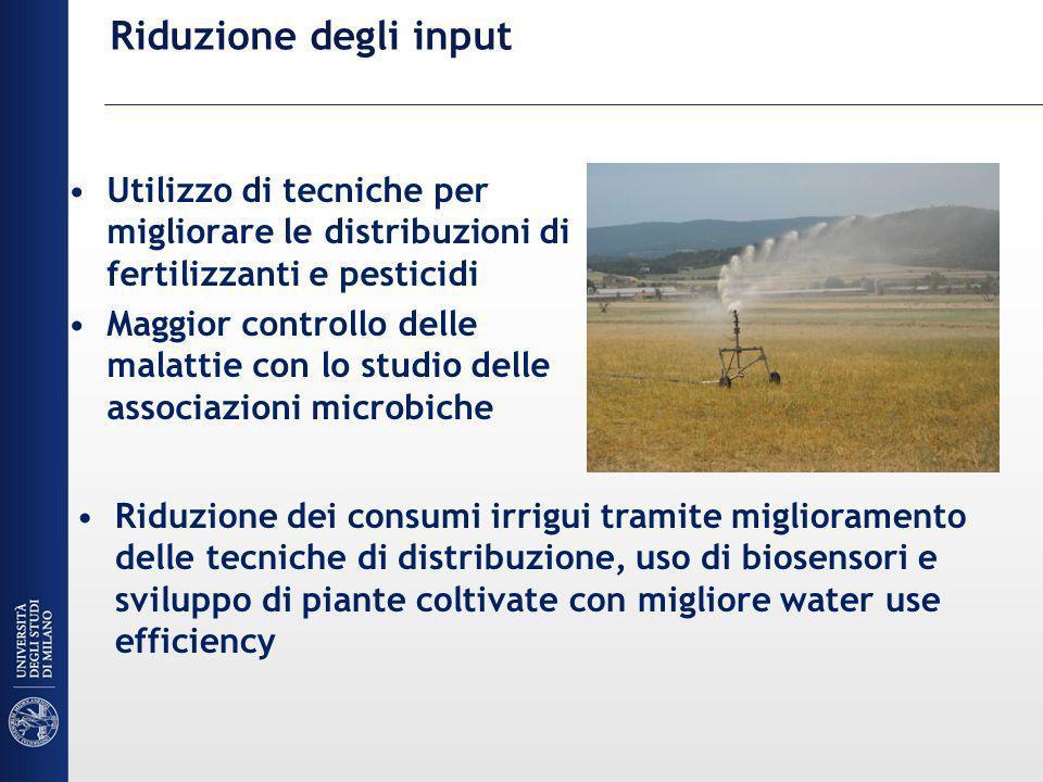 Riduzione degli input Utilizzo di tecniche per migliorare le distribuzioni di fertilizzanti e pesticidi Maggior controllo delle malattie con lo studio