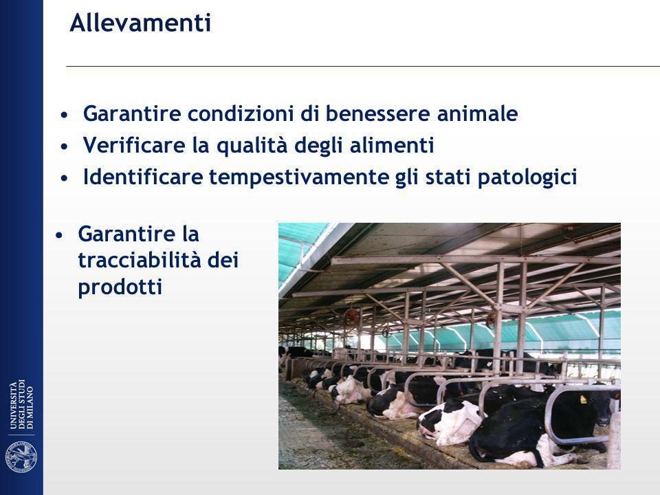 Allevamenti Garantire condizioni di benessere animale Verificare la qualità degli alimenti Identificare tempestivamente gli stati patologici Garantire