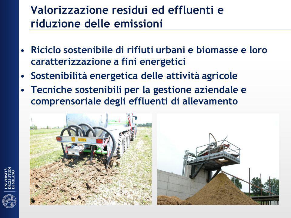 Valorizzazione residui ed effluenti e riduzione delle emissioni Riciclo sostenibile di rifiuti urbani e biomasse e loro caratterizzazione a fini energ