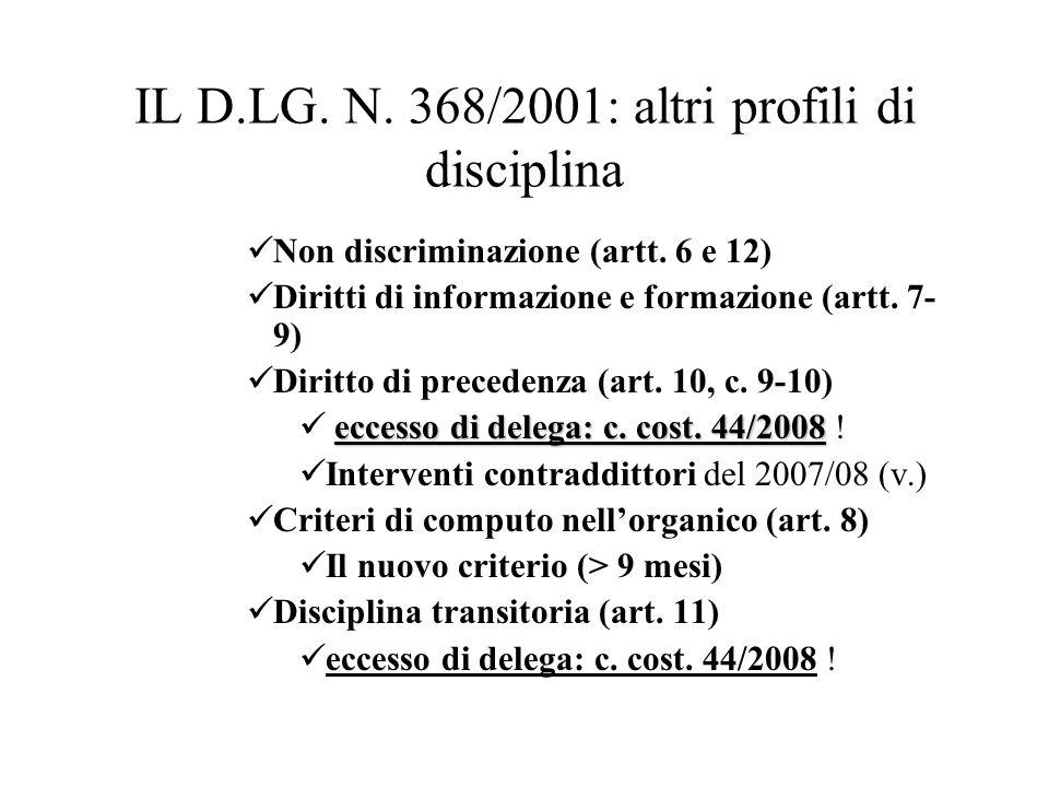 IL D.LG. N. 368/2001: altri profili di disciplina Non discriminazione (artt. 6 e 12) Diritti di informazione e formazione (artt. 7- 9) Diritto di prec