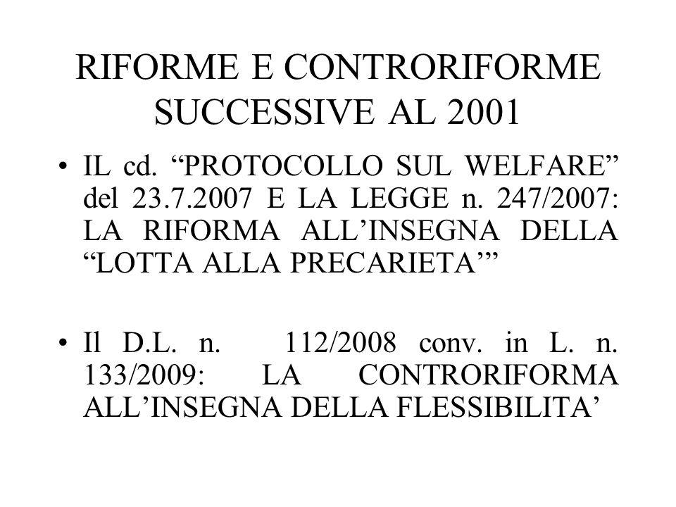 RIFORME E CONTRORIFORME SUCCESSIVE AL 2001 IL cd. PROTOCOLLO SUL WELFARE del 23.7.2007 E LA LEGGE n. 247/2007: LA RIFORMA ALLINSEGNA DELLA LOTTA ALLA