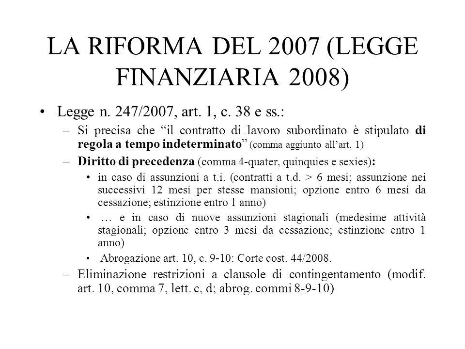 LA RIFORMA DEL 2007 (LEGGE FINANZIARIA 2008) Legge n. 247/2007, art. 1, c. 38 e ss.: –Si precisa che il contratto di lavoro subordinato è stipulato di