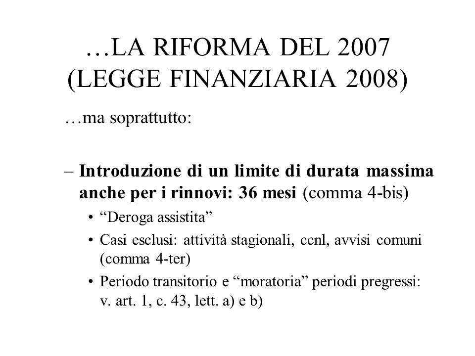 …LA RIFORMA DEL 2007 (LEGGE FINANZIARIA 2008) …ma soprattutto: –Introduzione di un limite di durata massima anche per i rinnovi: 36 mesi (comma 4-bis)