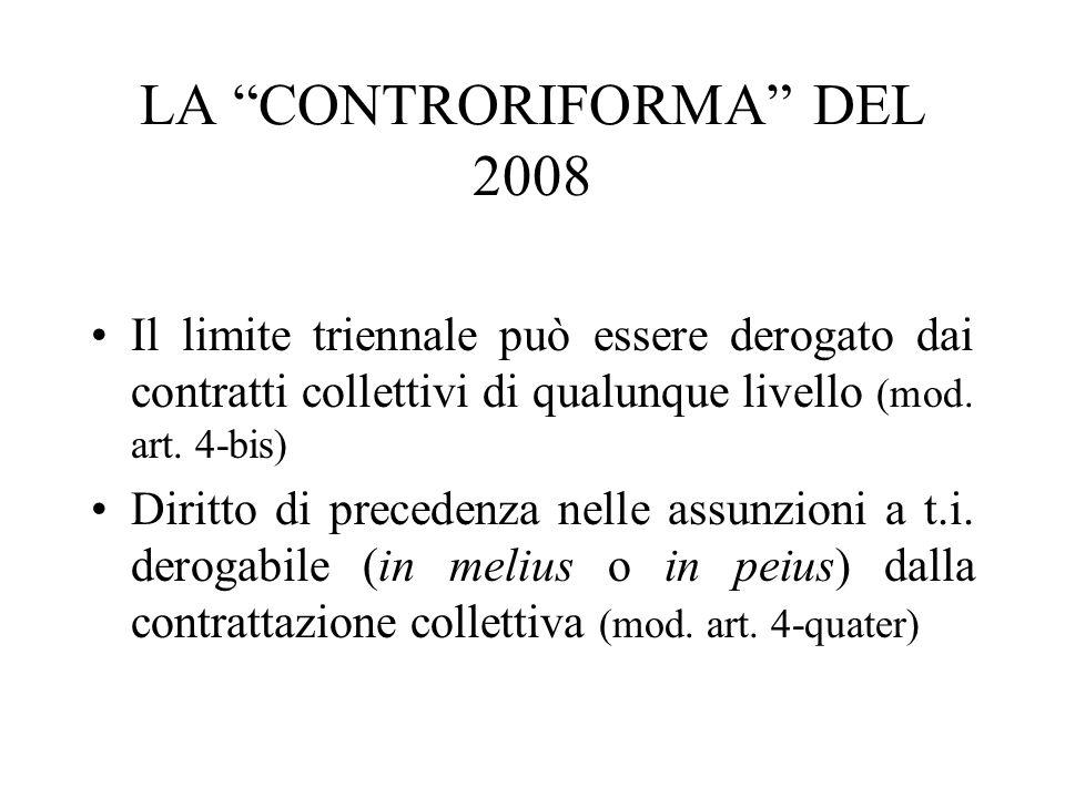LA CONTRORIFORMA DEL 2008 Il limite triennale può essere derogato dai contratti collettivi di qualunque livello (mod. art. 4-bis) Diritto di precedenz