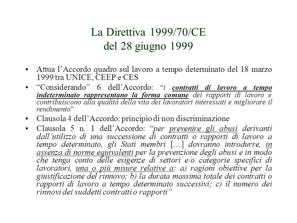 La Direttiva 1999/70/CE del 28 giugno 1999 Attua lAccordo quadro sul lavoro a tempo determinato del 18 marzo 1999 tra UNICE, CEEP e CES Considerando 6