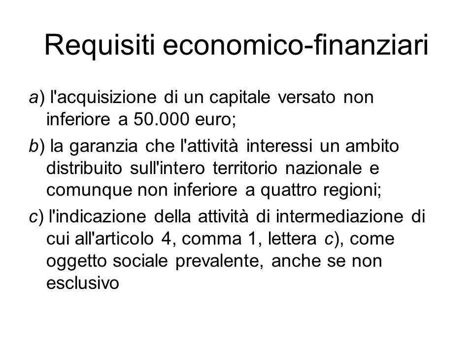 Requisiti economico-finanziari a) l'acquisizione di un capitale versato non inferiore a 50.000 euro; b) la garanzia che l'attività interessi un ambito