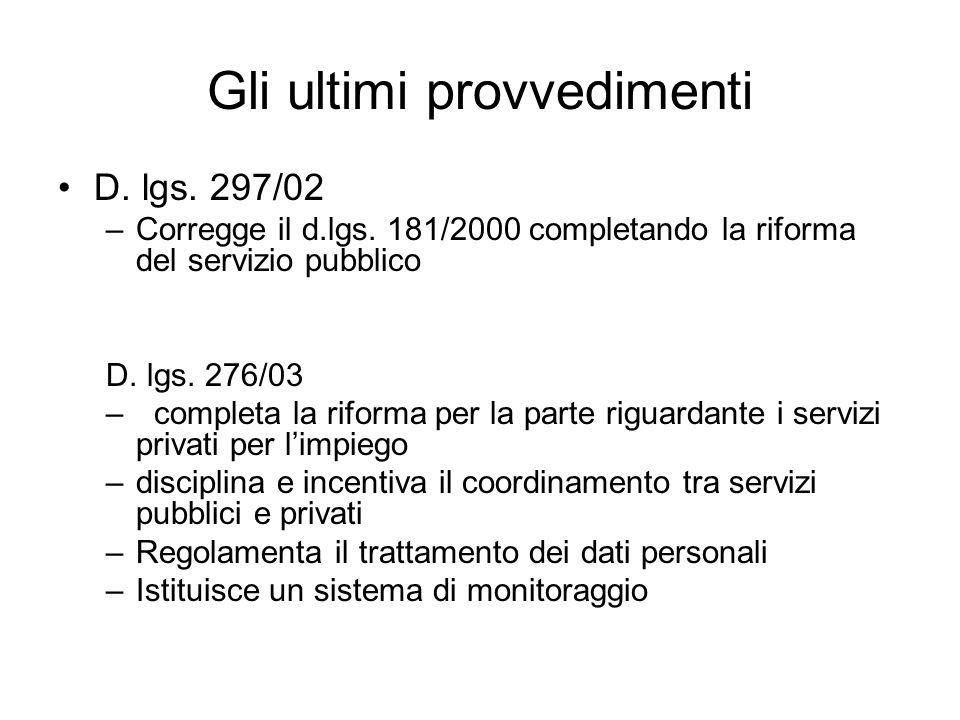 Gli ultimi provvedimenti D. lgs. 297/02 –Corregge il d.lgs. 181/2000 completando la riforma del servizio pubblico D. lgs. 276/03 –completa la riforma