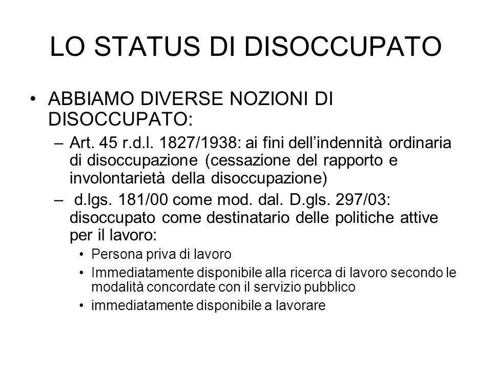 LO STATUS DI DISOCCUPATO ABBIAMO DIVERSE NOZIONI DI DISOCCUPATO: –Art. 45 r.d.l. 1827/1938: ai fini dellindennità ordinaria di disoccupazione (cessazi