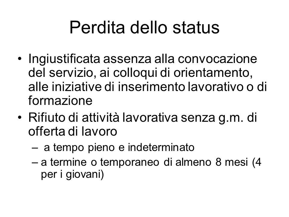 Perdita dello status Ingiustificata assenza alla convocazione del servizio, ai colloqui di orientamento, alle iniziative di inserimento lavorativo o d