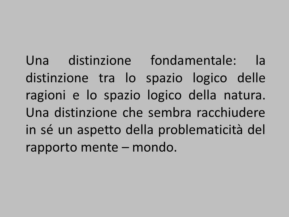 Una distinzione fondamentale: la distinzione tra lo spazio logico delle ragioni e lo spazio logico della natura. Una distinzione che sembra racchiuder
