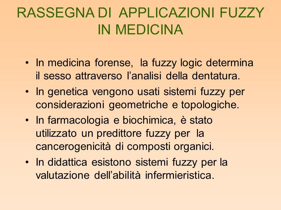 In medicina forense, la fuzzy logic determina il sesso attraverso lanalisi della dentatura. In genetica vengono usati sistemi fuzzy per considerazioni