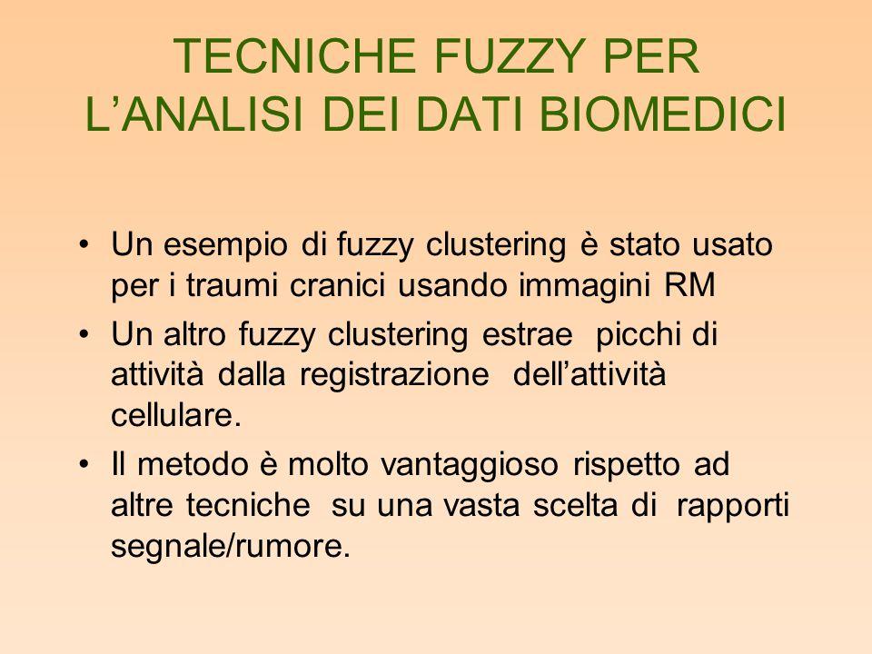 TECNICHE FUZZY PER LANALISI DEI DATI BIOMEDICI Un esempio di fuzzy clustering è stato usato per i traumi cranici usando immagini RM Un altro fuzzy clu