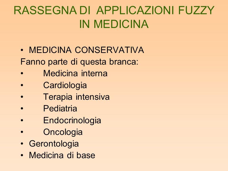 La fuzzy logic è stata usata usata soprattutto in medicina di base e in cardiologia.