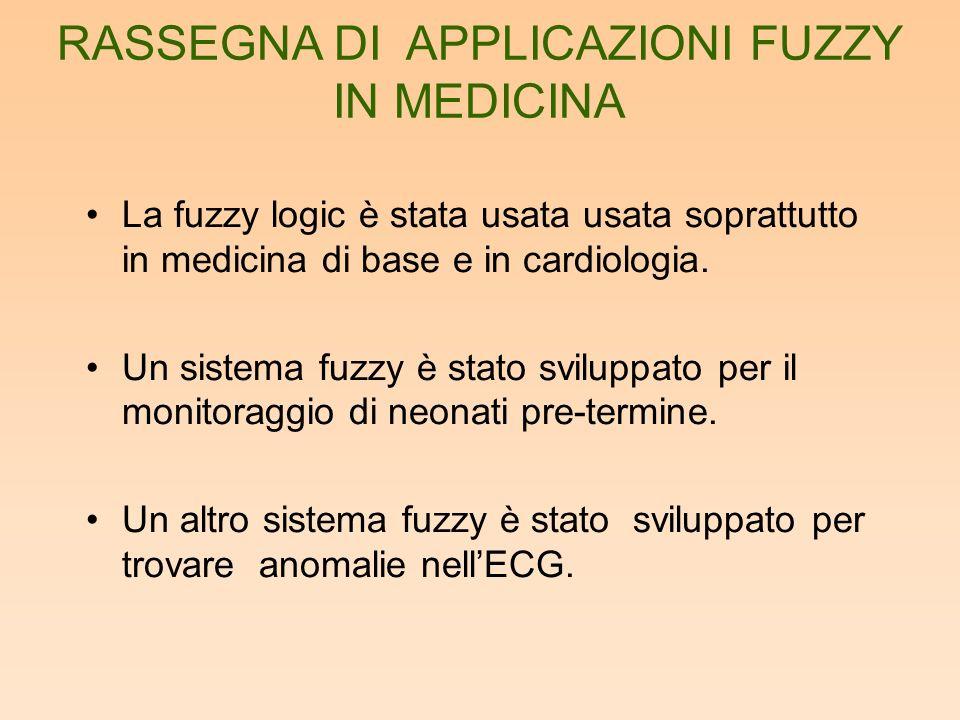 La fuzzy logic è stata usata usata soprattutto in medicina di base e in cardiologia. Un sistema fuzzy è stato sviluppato per il monitoraggio di neonat