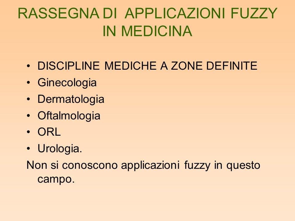 DISCIPLINE MEDICHE A ZONE DEFINITE Ginecologia Dermatologia Oftalmologia ORL Urologia. Non si conoscono applicazioni fuzzy in questo campo. RASSEGNA D