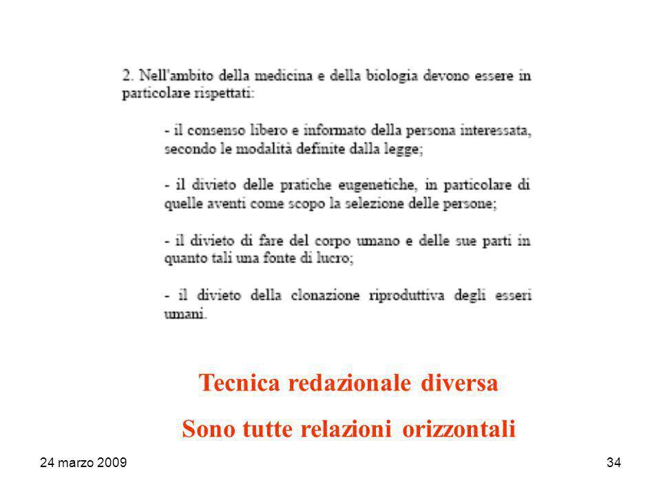 24 marzo 200934 Tecnica redazionale diversa Sono tutte relazioni orizzontali