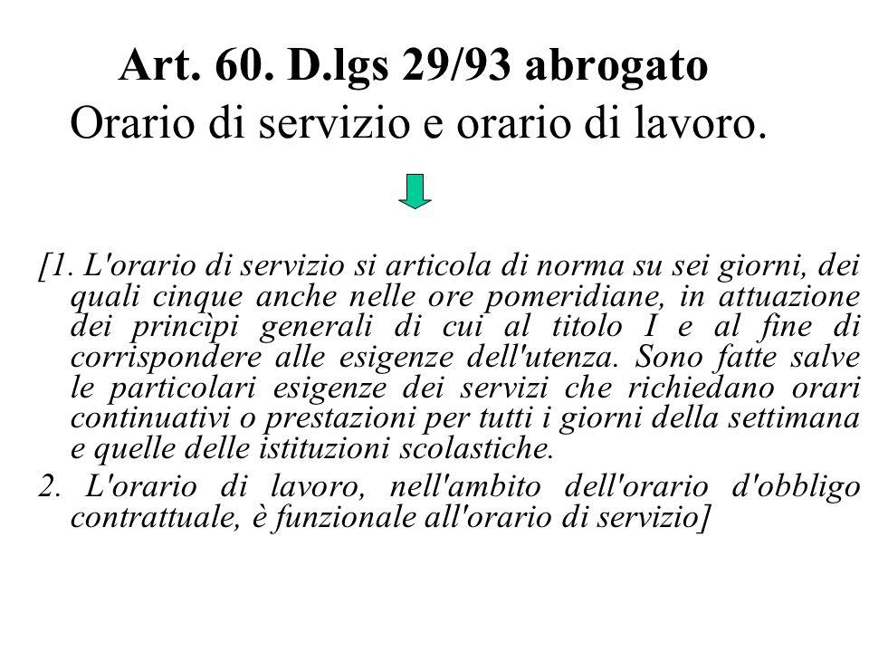 Art. 60. D.lgs 29/93 abrogato Orario di servizio e orario di lavoro.