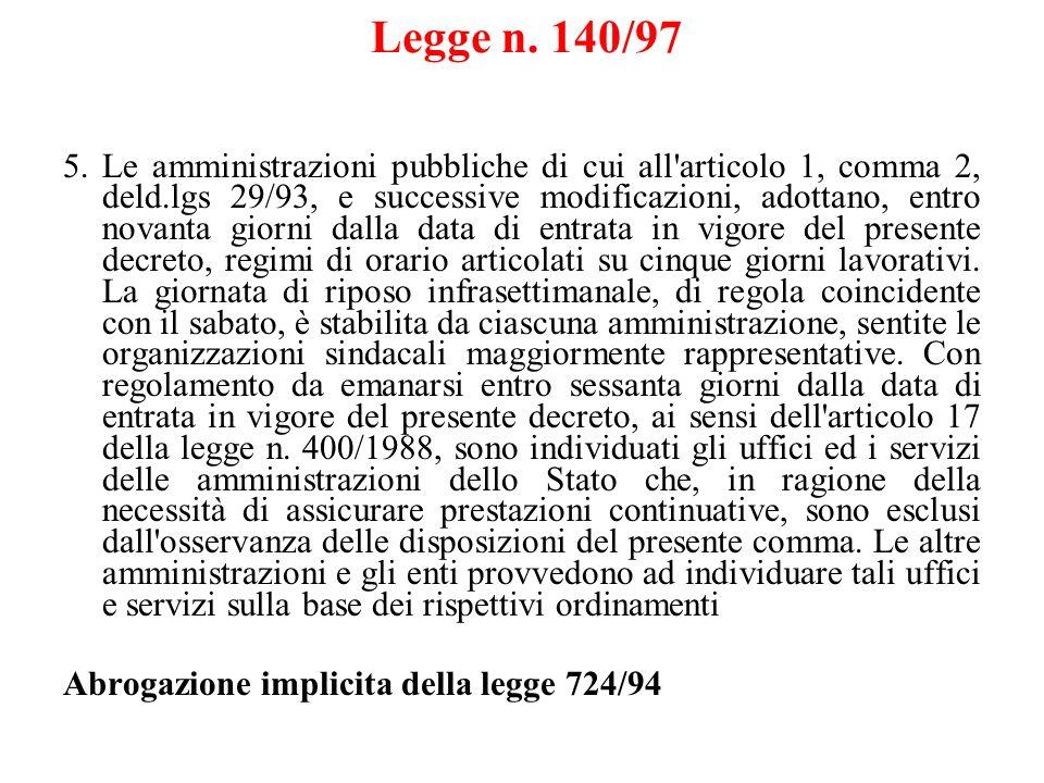 Legge n. 140/97 5.