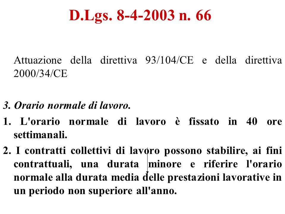 D.Lgs. 8-4-2003 n. 66 Attuazione della direttiva 93/104/CE e della direttiva 2000/34/CE 3.