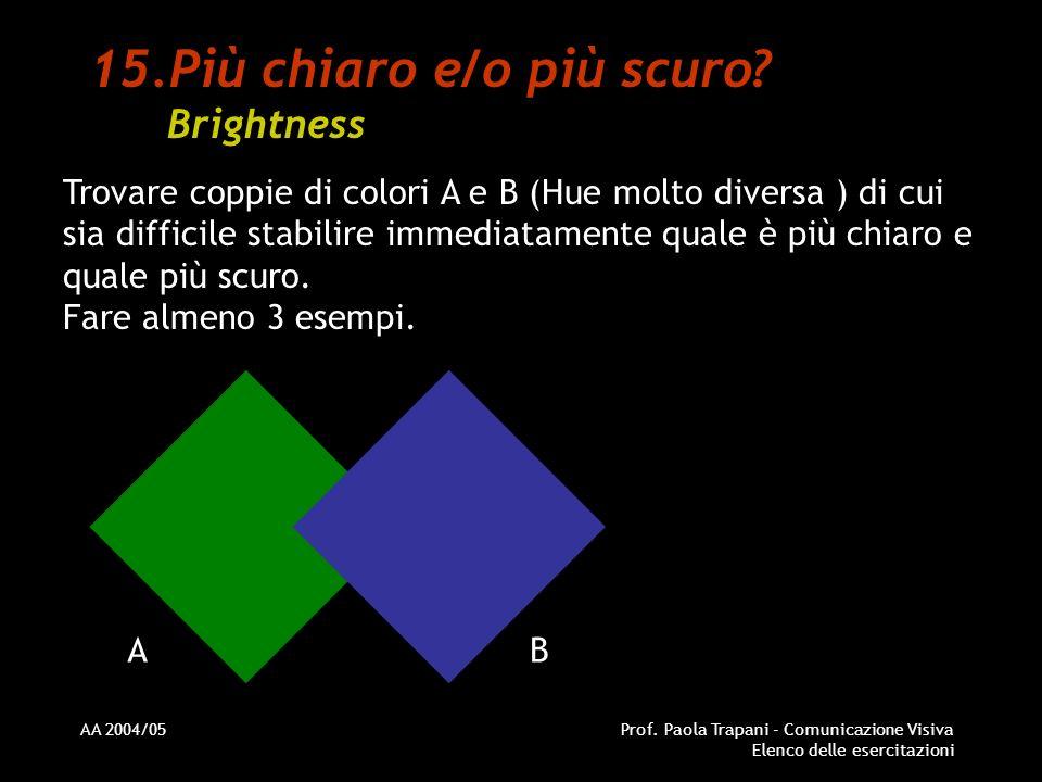 AA 2004/05Prof. Paola Trapani - Comunicazione Visiva Elenco delle esercitazioni 15.Più chiaro e/o più scuro? Brightness Trovare coppie di colori A e B