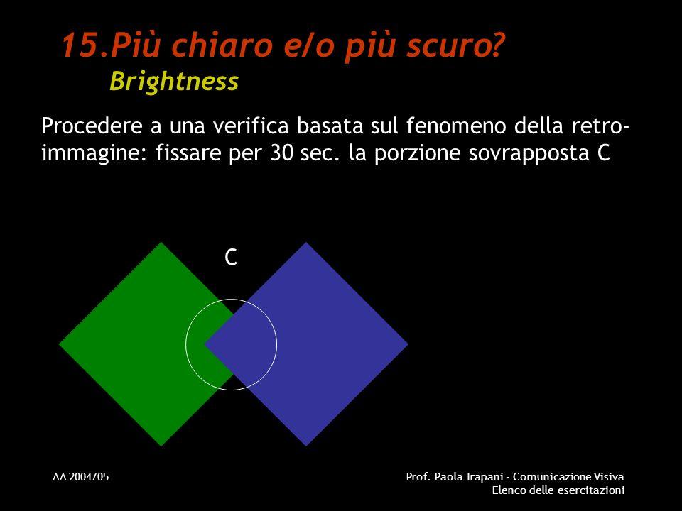 AA 2004/05Prof. Paola Trapani - Comunicazione Visiva Elenco delle esercitazioni 15.Più chiaro e/o più scuro? Brightness Procedere a una verifica basat
