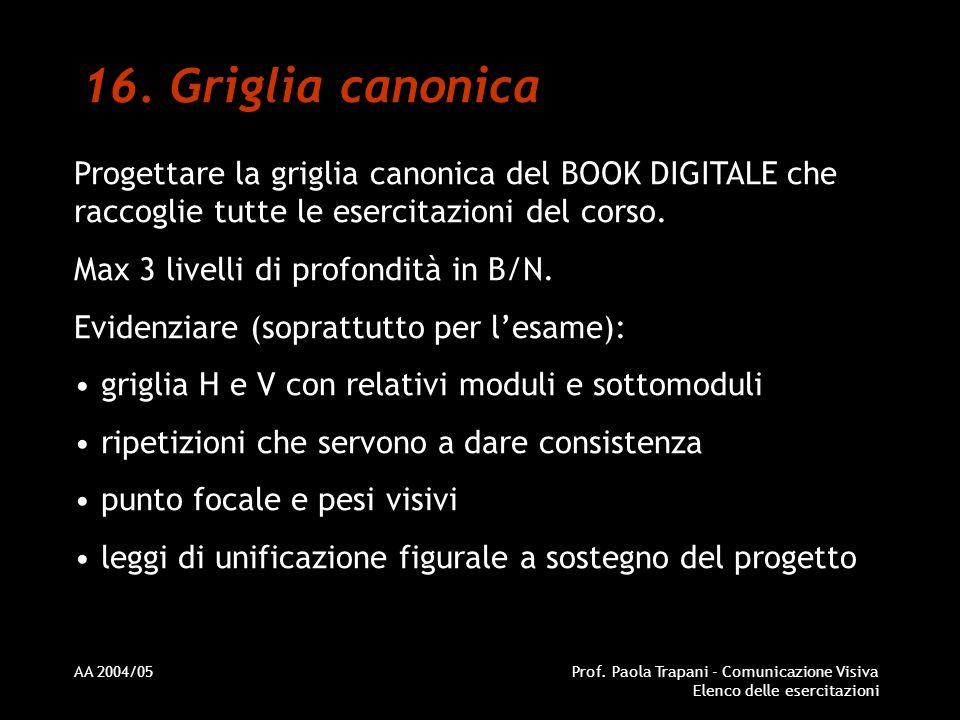 AA 2004/05Prof. Paola Trapani - Comunicazione Visiva Elenco delle esercitazioni 16. Griglia canonica Progettare la griglia canonica del BOOK DIGITALE