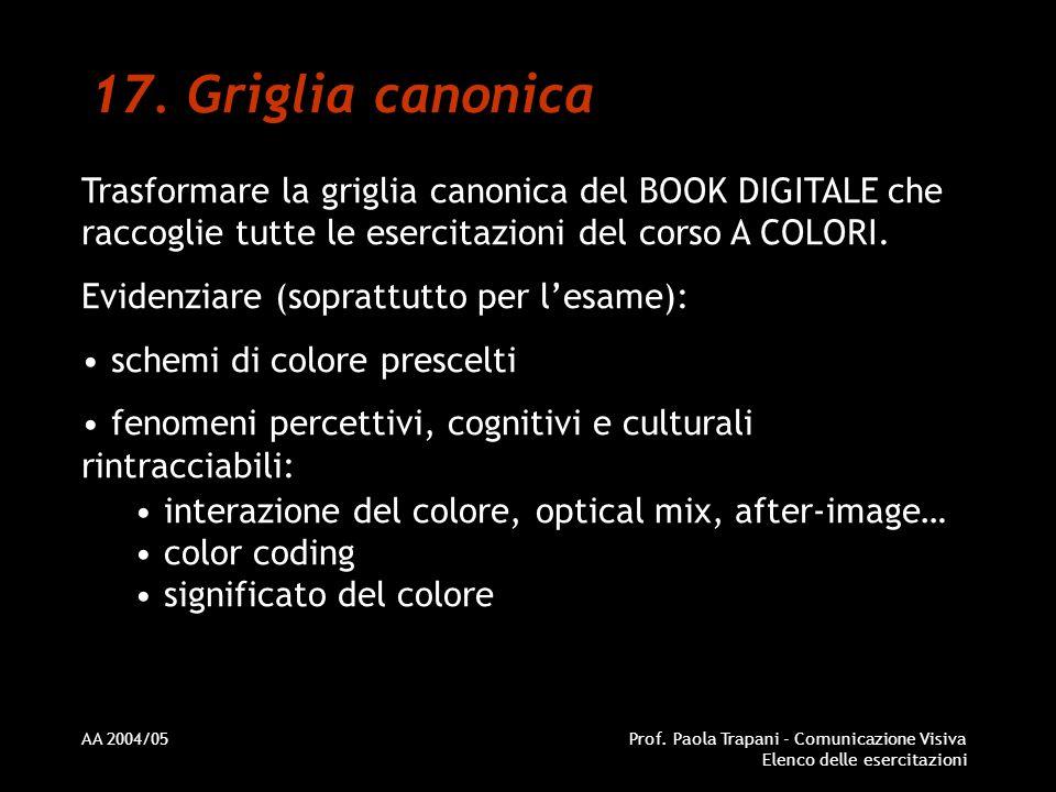 AA 2004/05Prof. Paola Trapani - Comunicazione Visiva Elenco delle esercitazioni 17. Griglia canonica Trasformare la griglia canonica del BOOK DIGITALE
