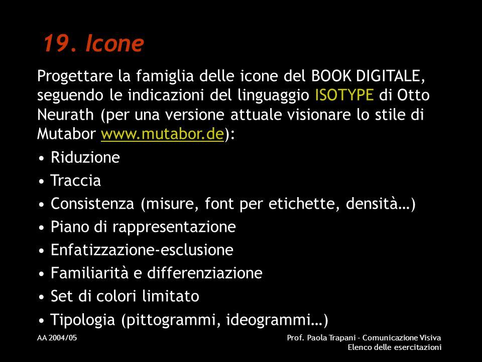AA 2004/05Prof. Paola Trapani - Comunicazione Visiva Elenco delle esercitazioni 19. Icone Progettare la famiglia delle icone del BOOK DIGITALE, seguen