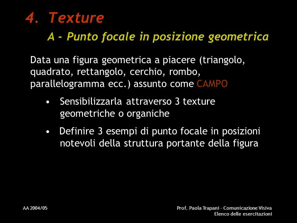 AA 2004/05Prof. Paola Trapani - Comunicazione Visiva Elenco delle esercitazioni 4.Texture A - Punto focale in posizione geometrica Data una figura geo