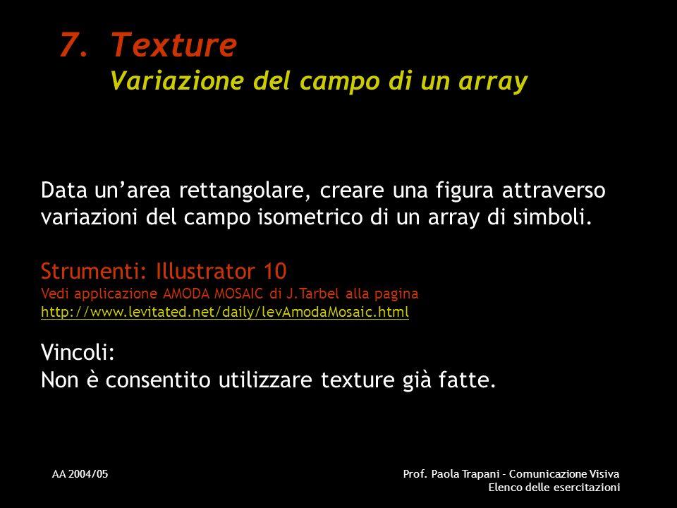 AA 2004/05Prof. Paola Trapani - Comunicazione Visiva Elenco delle esercitazioni 7.Texture Variazione del campo di un array Data unarea rettangolare, c
