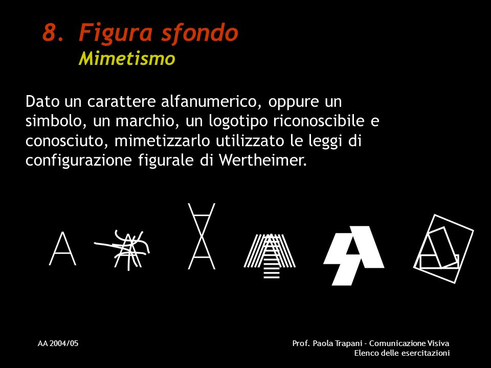 AA 2004/05Prof. Paola Trapani - Comunicazione Visiva Elenco delle esercitazioni 8.Figura sfondo Mimetismo Dato un carattere alfanumerico, oppure un si