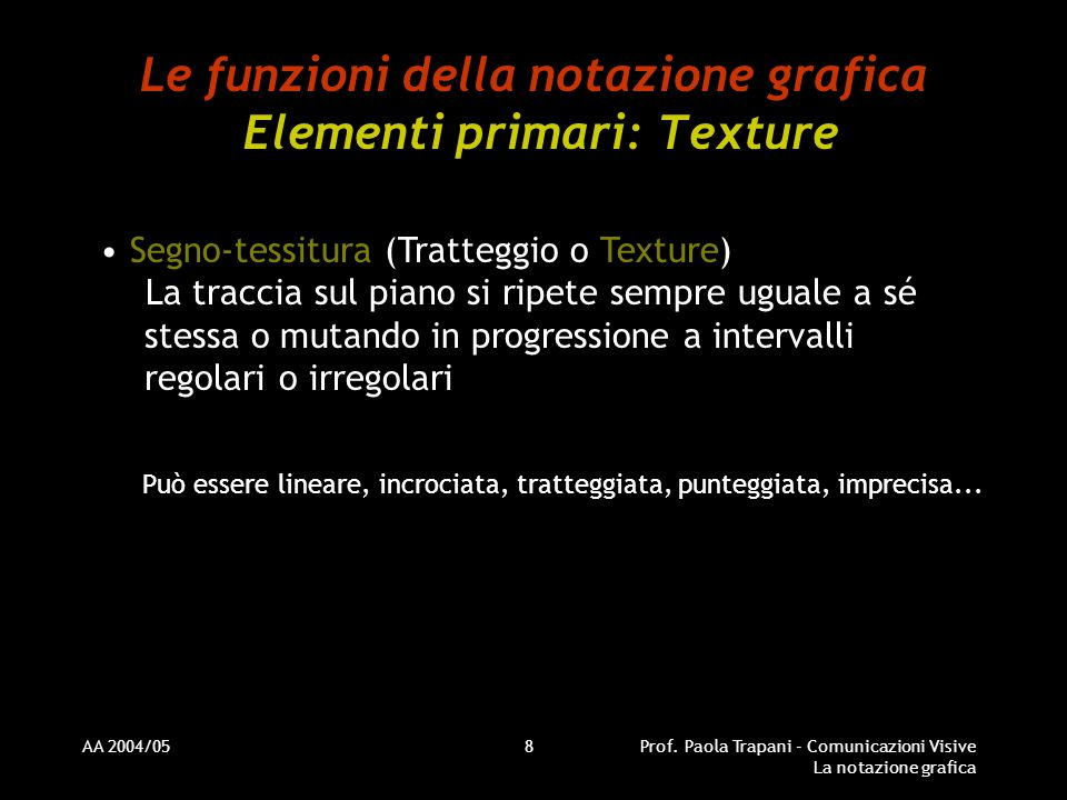 AA 2004/05Prof. Paola Trapani - Comunicazioni Visive La notazione grafica 8 Le funzioni della notazione grafica Elementi primari: Texture Segno-tessit