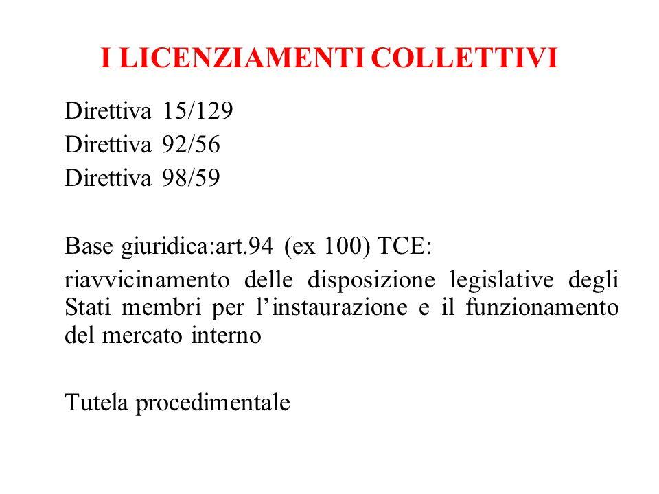 I LICENZIAMENTI COLLETTIVI Direttiva 15/129 Direttiva 92/56 Direttiva 98/59 Base giuridica:art.94 (ex 100) TCE: riavvicinamento delle disposizione leg