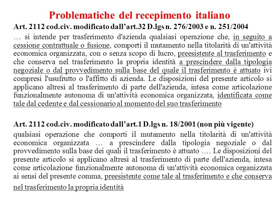 Problematiche del recepimento italiano Art. 2112 cod.civ. modificato dallart.32 D.lgs n. 276/2003 e n. 251/2004 … si intende per trasferimento d'azien