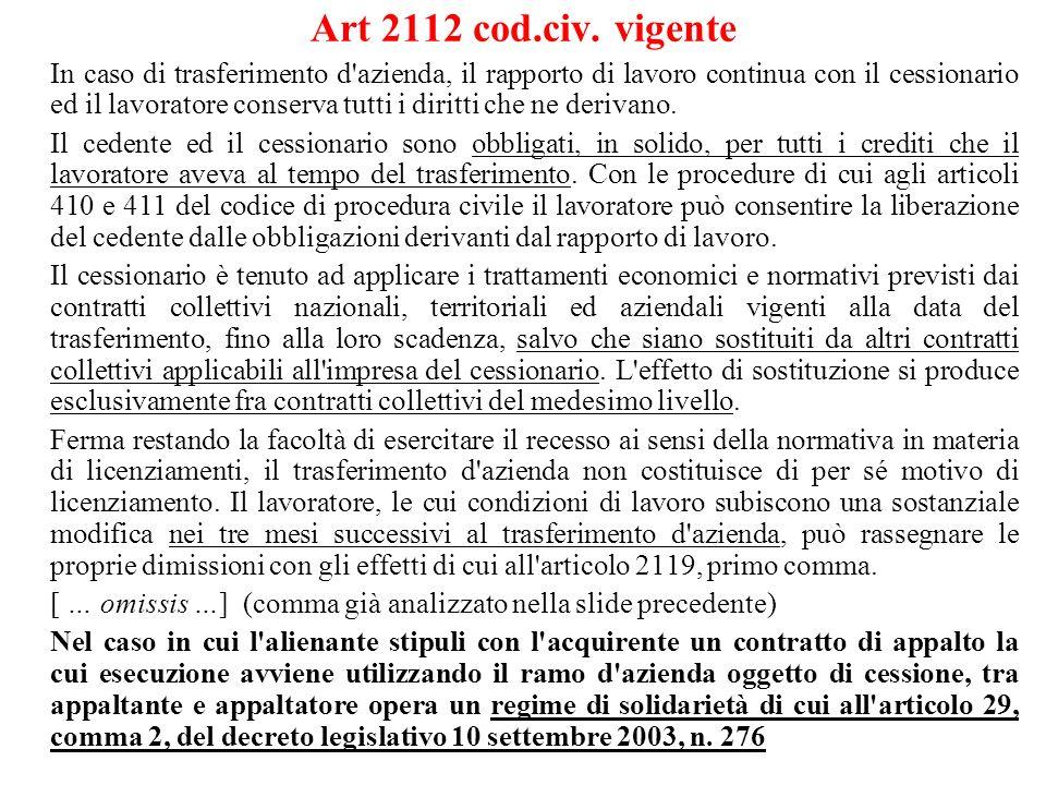 Art 2112 cod.civ. vigente In caso di trasferimento d'azienda, il rapporto di lavoro continua con il cessionario ed il lavoratore conserva tutti i diri