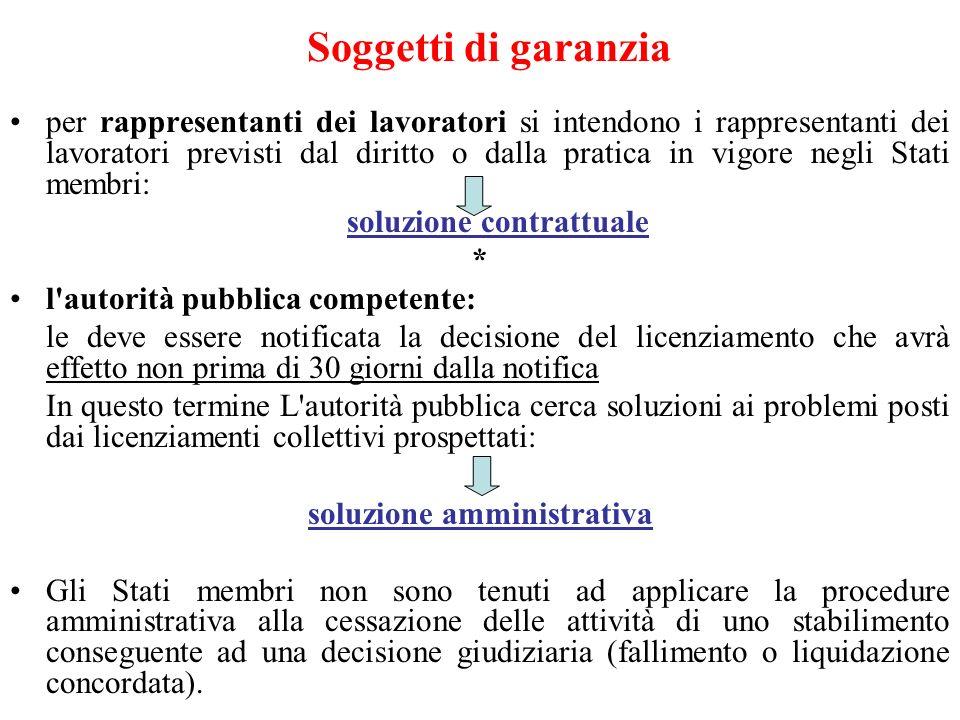 Soggetti di garanzia per rappresentanti dei lavoratori si intendono i rappresentanti dei lavoratori previsti dal diritto o dalla pratica in vigore neg