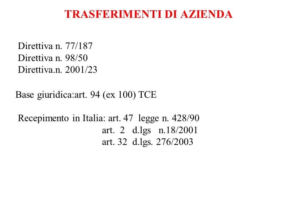 TRASFERIMENTI DI AZIENDA Direttiva n. 77/187 Direttiva n. 98/50 Direttiva.n. 2001/23 Base giuridica:art. 94 (ex 100) TCE Recepimento in Italia: art. 4