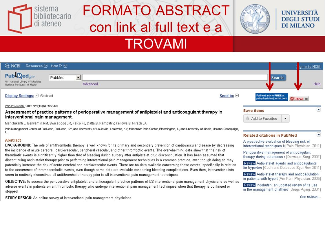 FORMATO ABSTRACT con link al full text e a TROVAMI