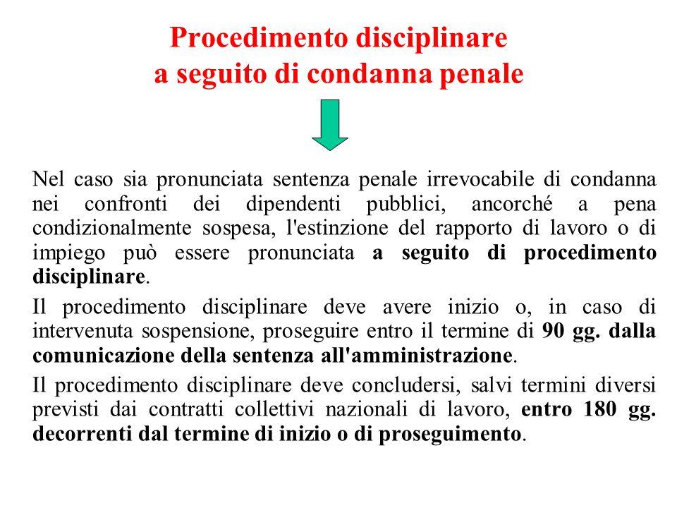 Procedimento disciplinare a seguito di condanna penale Nel caso sia pronunciata sentenza penale irrevocabile di condanna nei confronti dei dipendenti