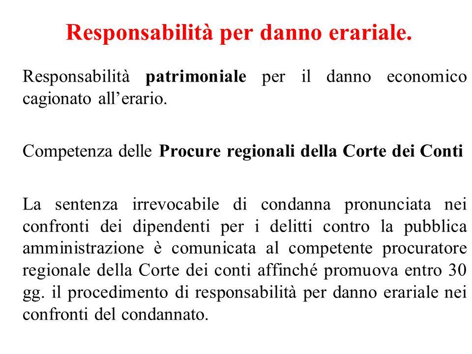 Responsabilità per danno erariale. Responsabilità patrimoniale per il danno economico cagionato allerario. Competenza delle Procure regionali della Co