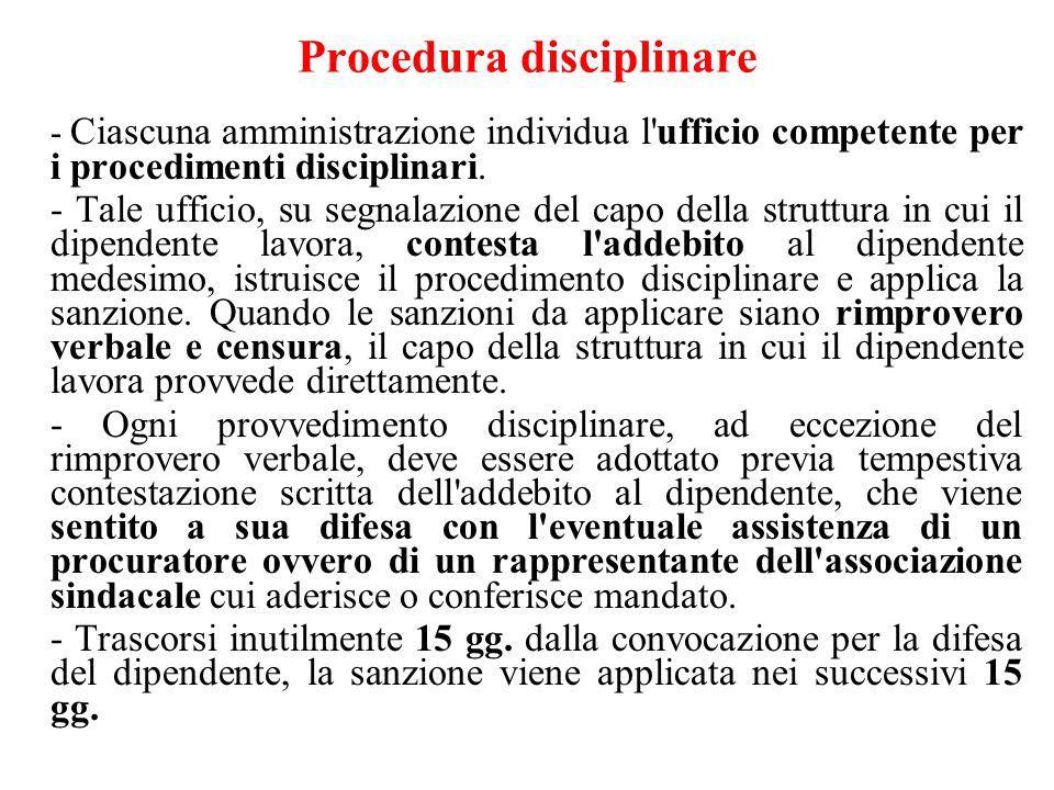 Procedura disciplinare - Ciascuna amministrazione individua l'ufficio competente per i procedimenti disciplinari. - Tale ufficio, su segnalazione del