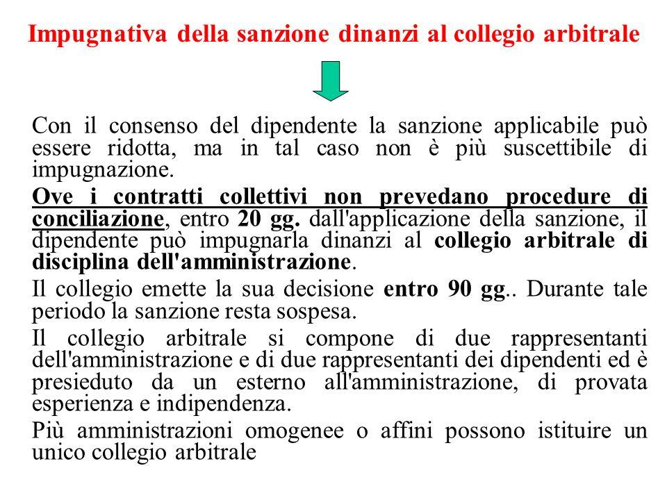 Impugnativa della sanzione dinanzi al collegio arbitrale Con il consenso del dipendente la sanzione applicabile può essere ridotta, ma in tal caso non