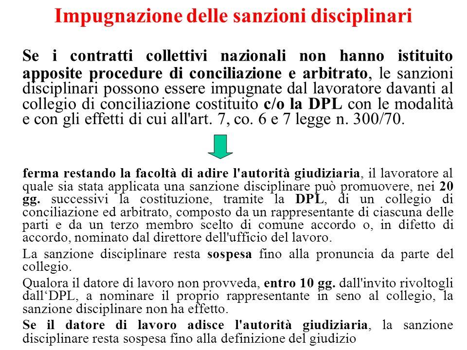 Impugnazione delle sanzioni disciplinari Se i contratti collettivi nazionali non hanno istituito apposite procedure di conciliazione e arbitrato, le s