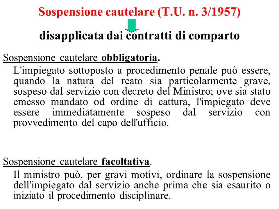 Sospensione cautelare (T.U. n. 3/1957) disapplicata dai contratti di comparto Sospensione cautelare obbligatoria. L'impiegato sottoposto a procediment