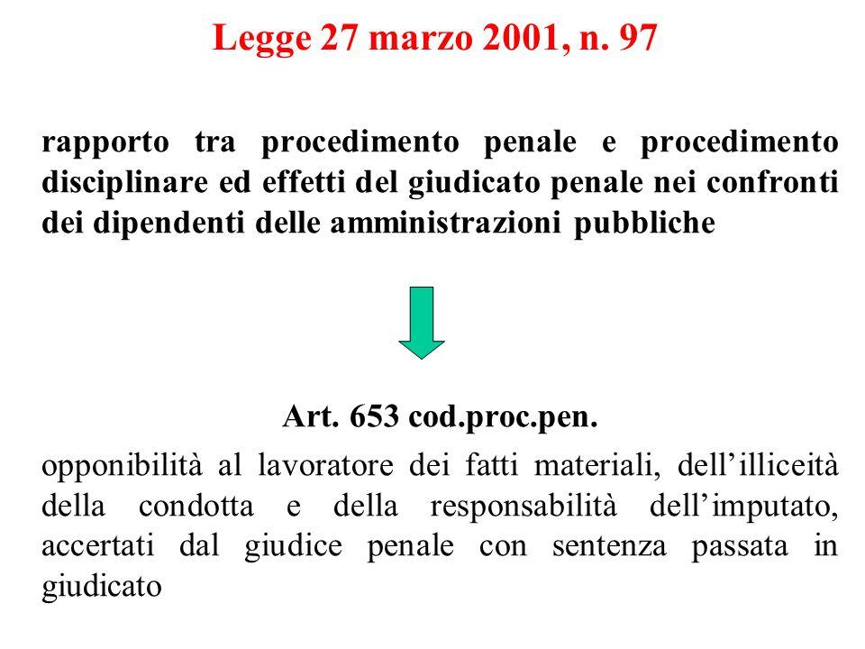 Legge 27 marzo 2001, n. 97 rapporto tra procedimento penale e procedimento disciplinare ed effetti del giudicato penale nei confronti dei dipendenti d