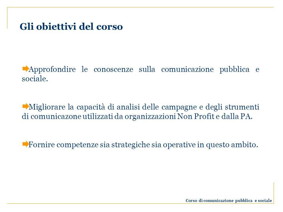 Approfondire le conoscenze sulla comunicazione pubblica e sociale. Migliorare la capacità di analisi delle campagne e degli strumenti di comunicazone