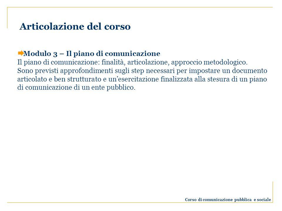 Modulo 3 – Il piano di comunicazione Il piano di comunicazione: finalità, articolazione, approccio metodologico. Sono previsti approfondimenti sugli s