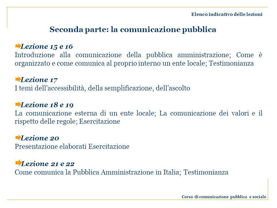 Elenco indicativo delle lezioni Corso di comunicazione pubblica e sociale Lezione 15 e 16 Introduzione alla comunicazione della pubblica amministrazione; Come è organizzato e come comunica al proprio interno un ente locale; Testimonianza Lezione 17 I temi dellaccessibilità, della semplificazione, dellascolto Lezione 18 e 19 La comunicazione esterna di un ente locale; La comunicazione dei valori e il rispetto delle regole; Esercitazione Lezione 20 Presentazione elaborati Esercitazione Lezione 21 e 22 Come comunica la Pubblica Amministrazione in Italia; Testimonianza Seconda parte: la comunicazione pubblica