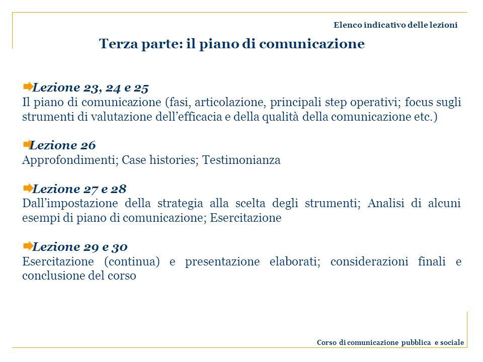 Elenco indicativo delle lezioni Corso di comunicazione pubblica e sociale Lezione 23, 24 e 25 Il piano di comunicazione (fasi, articolazione, principa